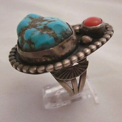 OLD NAVAJO SILVER RING with LARGE TURQUOISE NUGGET and CORAL, size 11