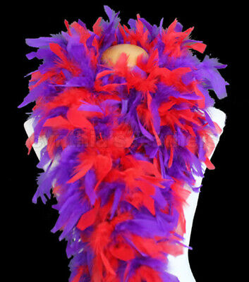 Red/Purple mix 100 Gram Chandelle Feather Boa Dance Party Halloween Costume