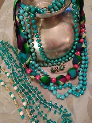 Very Nice vintage lot of 7 turquoise colored necklaces/beads.80's style.earrings