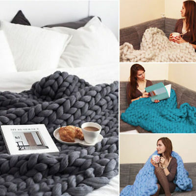 Large Warm Chunky Knit Blanket Thick Yarn Wool Bulky Knitted Throw NEW
