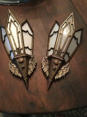 Pair Of Art Deco Bronze And Glass Sconces