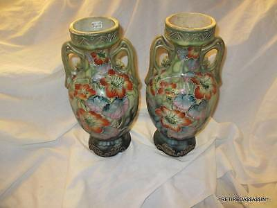 Set Satsuma Beautiful Antique Japanese Pair/Lot of 2 Vase Hand Painted Floral
