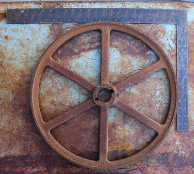 "Vintage Industrial Pulley Wheel 18 3/4"" Cast Iron Farm Antique Steampunk 10 LB"