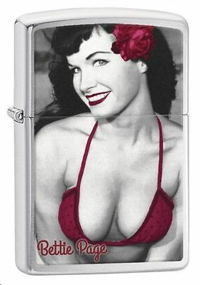 Zippo Windproof Lighter With Pin Up, Pinup Bettie Page In Red Bikini, 29439, NIB