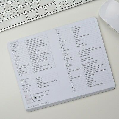 Apple Tastenkürzel Shortcuts Deutsch Mousepad Mauspad High Sierra OS X Weiss