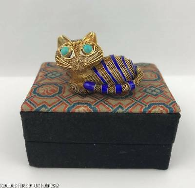 Vintage Chinese Cat Brooch Pin ~ Blue Enamel ~ Gilt Sterling Silver ~ Turquoise