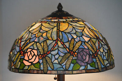 Large Tiffany Style Art Stained Glass Lamp Dragonfly  Flowers And Jewels Shade