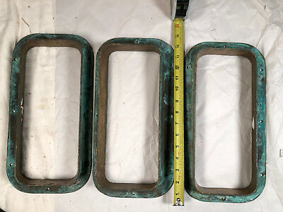 3 Vintage bronze sailboat ship porthole portlight marine window frames nautical