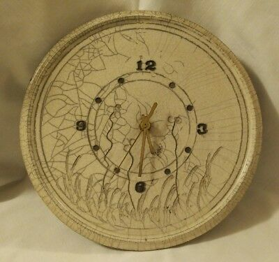 Handcrafted Vintage Art Pottery Studio Wall Clock, Signed, 1981
