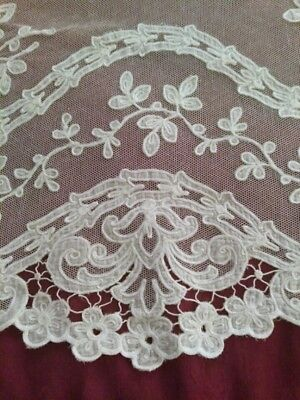 RARE ANTIQUE VINTAGE LACE FRENCH NET Tambour. White. New old stock White 1900's