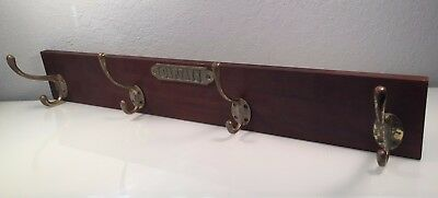 Vintage Wall Mounted Coat Rack - 4 Brass Hooks Marked CAPTAIN 1928 Beach Mansion
