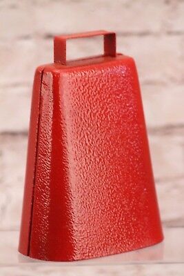 Steel Cow Bell Red Finish Cowbell Handle Music Sports Pep Rally