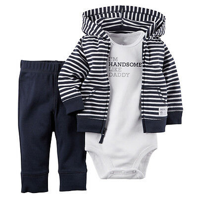 Newborn Baby Boy Hooded Outfit Clothes Warm Jacket Outwear+Romper+Pants 3PCS Set