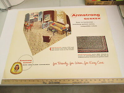 ARMSTRONG Quaker 1950s sofa floor covering carpet rug store display sign SP EX