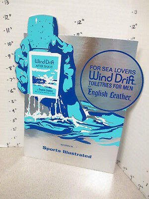 ENGLISH LEATHER 70s Wind Drift after shave store display sign Sports Illustrated