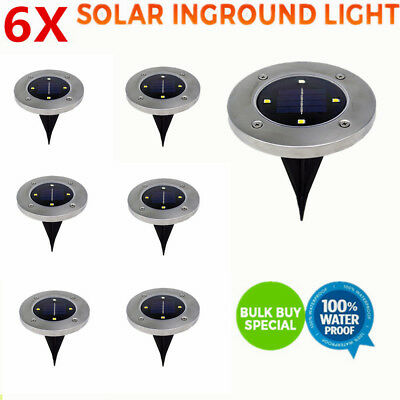 6 x Solar Powered 4 LED Buried Inground Recessed Light Garden Outdoor Deck Path
