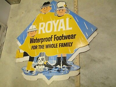 Royal U.S. Rubber rain boot FAMILY 1950s vintage clothing store display sign