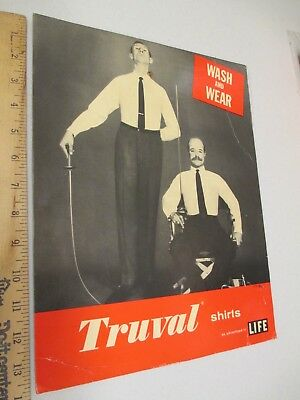 TRUVAL MEN'S SHIRT fencing sword 1950s vintage clothing store display sign