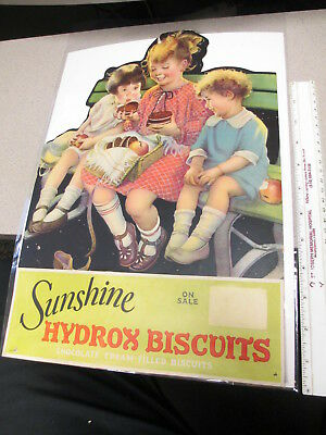 SUNSHINE Loose-Wiles Biscuit Co 1920s store display sign HYDROX COOKIE children