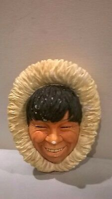 Bossons Vintage Hand painted Chalkware Bust- THE ESKIMO- 1968 England Wall Decor
