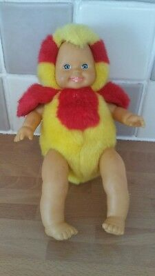 vintage doll toy dressed as a budgie or parrot bird rare yellow red rare