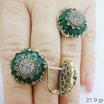 Daisy Design 925 Sterling Silver Handmade Jewelry Zambia Emerald Ladie's Set
