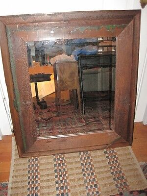 Antique18c NE Clapboard Framed Mirror with Later Beveled Edge Glass Mirror c1760