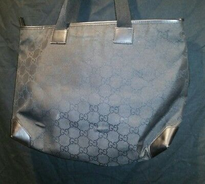 283a86eefcd433 GUCCI BLACK MONOGRAM Canvas Leather Tote Bag Authentic Vintage ...