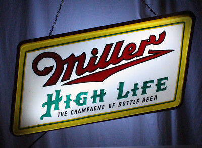 Miller High Life Lighted Vintage Advertising Beer Sign Milwaukee, Wisconsin Mgd+