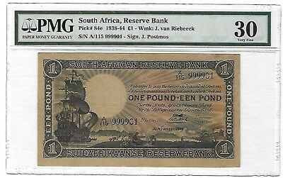 1941 South Africa 1 Pound, Fancy Serial Number 999901, PMG 30 VF Very Clean P-84
