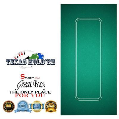 """Table Top Poker Texas Hold'em Layout 36"""" x 72"""" Green Mat Pad Portable Felt Cover"""