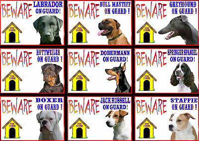 Beware Of The Dog Signs On Guard Various Breeds set2