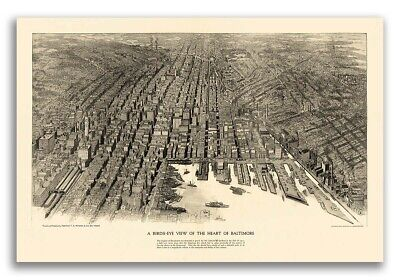 Bird's Eye View 1912 Baltimore, Maryland Vintage Style City Map - 20x30