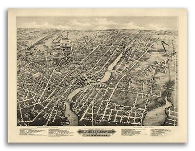 Pawtucket, Rhode Island 1877 Historic Panoramic Town Map - 18x24
