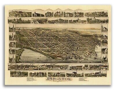Bristol, Rhode Island 1891 Historic Panoramic Town Map - 20x28