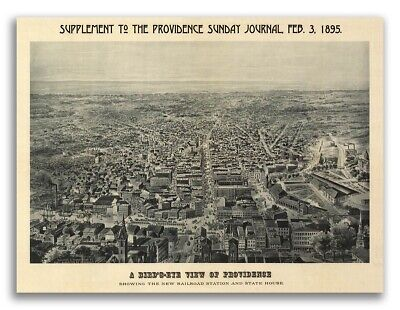 Bird's Eye View 1895 Providence, RI Vintage Style City Map - 18x24