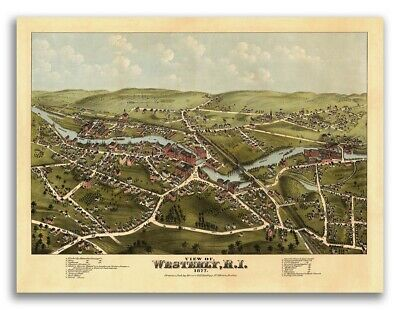 Westerly, Rhode Island 1877 Historic Panoramic Town Map - 24x32