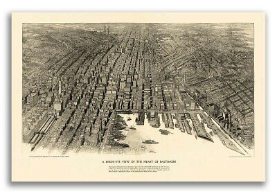 Baltimore, MD 1912 Historic Panoramic Town Map - 24x36