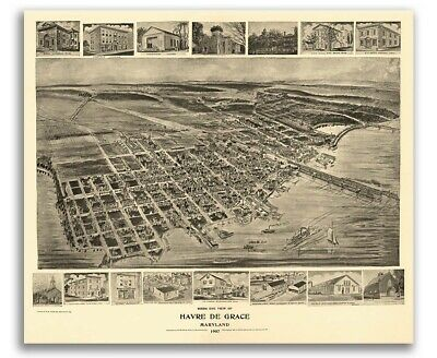 Bird's Eye View 1907 Havre de Grace, MD Vintage Style City Map - 16x20