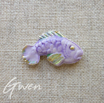 Feve ancienne plate Poisson Moyet Perrin miniature Biscuit Colorisé IKO