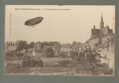 WW1, an old post card: an observation ballon, french front,   France.  c14