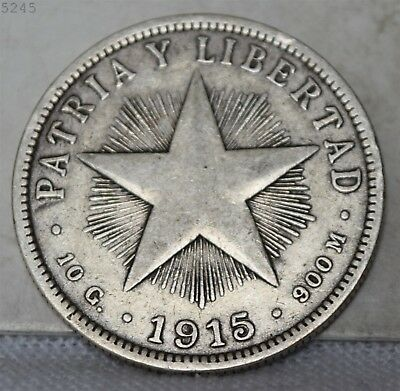 1915 *Silver* Patria Y Libertad 40 Centavos *Free S/H After 1st Item*