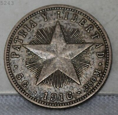 1916 *Silver* Patria Y Libertad 20 Centavos *Free S/H After 1st Item*