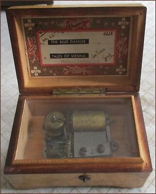 Vintage Swiss Thorens (2) Song Music Box The Blue Danube, Tales of Vienna, A228