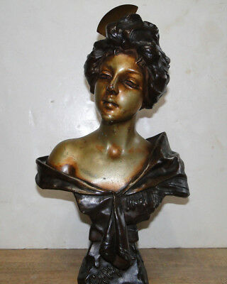 Antique French Sculpture by Villanis Woman Bust Carmela Spelter Statue Pot Metal
