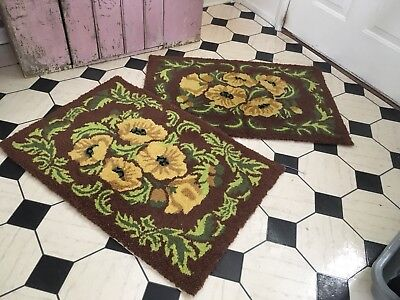 Pair of Vintage Rugs Shabby garden brown with yellow floral design cotton liner