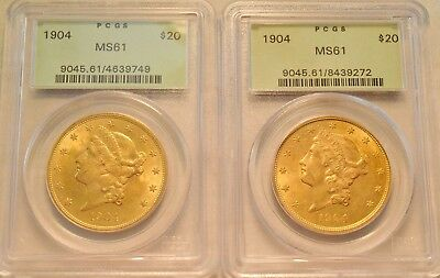 Lot of (2) 1904 $20 PCGS MS 61 Gold Liberty Double Eagle OGH Uncirculated Twenty
