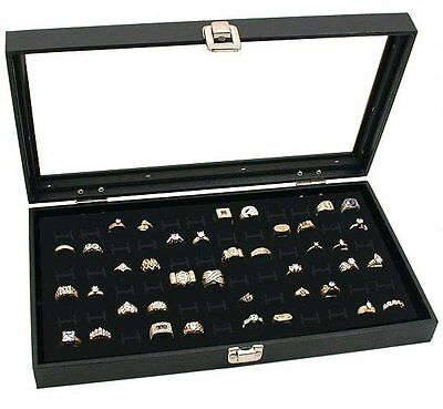 Large Jewelry Display Case Box Chest Glass Top 72 Slot Ring Tray Black + Pouch