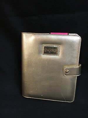 NWT LILLY PULITZER Gold AGENDA FOLIO CARRYING CASE ORGANIZER COVER