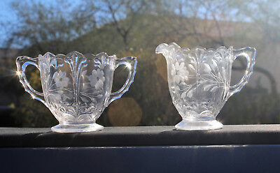 Rare Vintage Etched Pressed Glass Sugar Bowl and Creamer